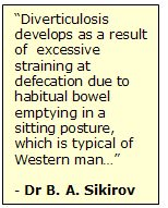 Diverticulosis and sitting toilets